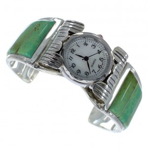 Southwestern Turquoise Authentic Sterling Silver Cuff Watch CX48637