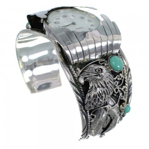 Southwest Jewelry Sterling Silver Eagle Turquoise Cuff Watch CX48230