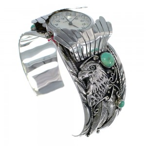 Turquoise Southwest Eagle Genuine Sterling Silver Cuff Watch CX48269