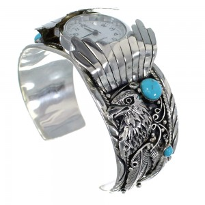 Turquoise Sterling Silver Southwest Eagle Cuff Watch CX48272