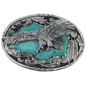 Southwest Turquoise And Sterling Silver Eagle Belt Buckle EX48452