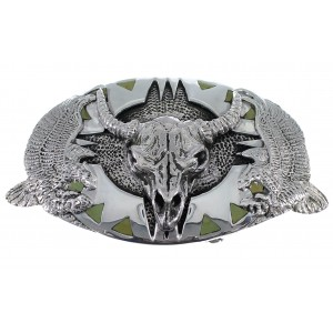Southwest Silver Cow Skull Eagle Turquoise Belt Buckle EX48463