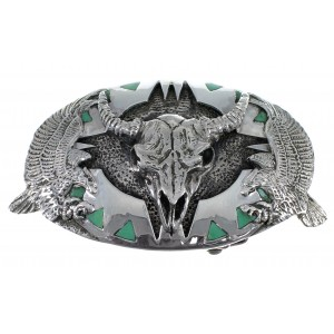 Turquoise Genuine Sterling Silver Cow Skull Eagle Belt Buckle EX48464
