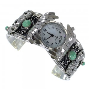 Turquoise Horse Genuine Sterling Silver Southwest Cuff Watch CX48682