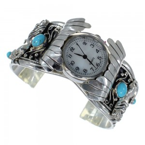 Turquoise Horse Authentic Sterling Silver Southwest Cuff Watch CX64075