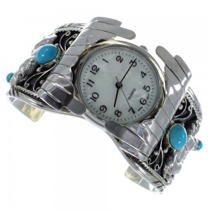 Turquoise Sterling Silver Southwest Bear Cuff Watch CX48709