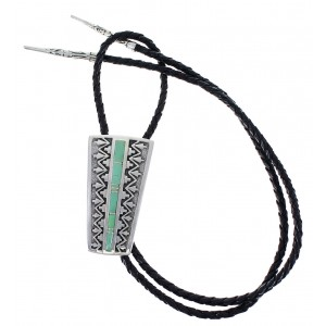Turquoise Authentic Sterling Silver Arrow Southwest Bolo Tie CX48923