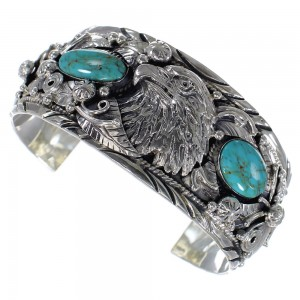 Turquoise Eagle Southwestern Sterling Silver Cuff Bracelet CX49059