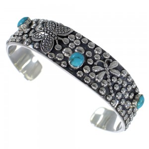 Butterfly Dragonfly Turquoise Sterling Silver Cuff Bracelet CX49469