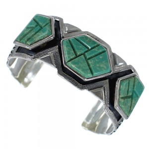 Southwest Sterling Silver Turquoise Inlay Cuff Bracelet CX49136