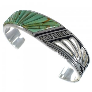 Turquoise Inlay Authentic Sterling Silver Sturdy Cuff Bracelet CX49232