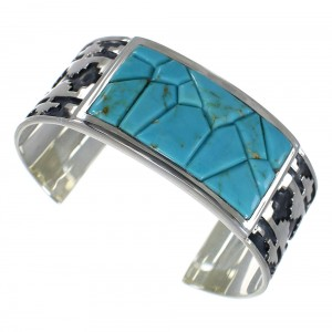 Sterling Silver Turquoise Southwest Well-Built Cuff Bracelet CX49275