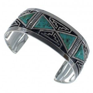 Turquoise Inlay Sterling Silver Southwest Cuff Bracelet CX49446