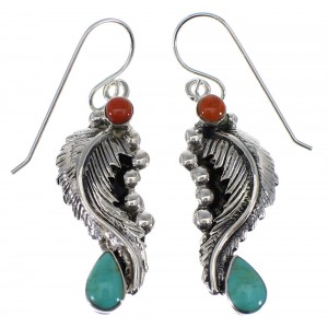 Turquoise Coral Sterling Silver Hook Dangle Feather Earrings AX49540