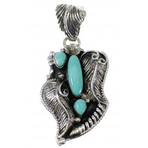 Turquoise And Genuine Sterling Silver Feather Pendant AX49621