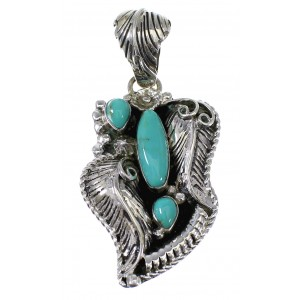 Silver And Turquoise Feather Pendant AX49623