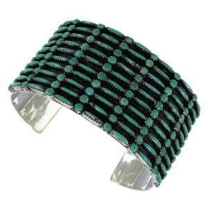 Turquoise Needlepoint Silver Substantial Cuff Bracelet CX49562