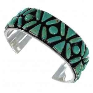 Turquoise Sterling Silver Southwest Sturdy Cuff Bracelet CX49568