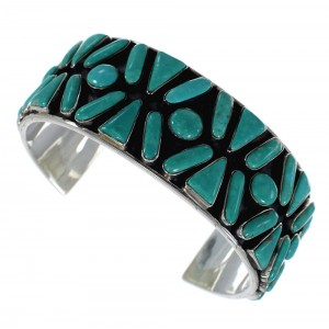 Sterling Silver Southwest Turquoise Sturdy Cuff Bracelet CX49573
