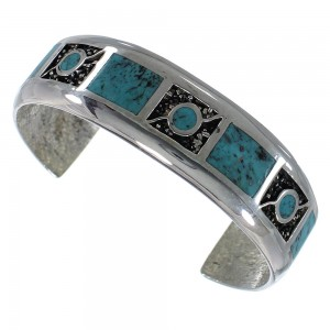 Southwestern Authentic Sterling Silver Turquoise Cuff Bracelet CX49662