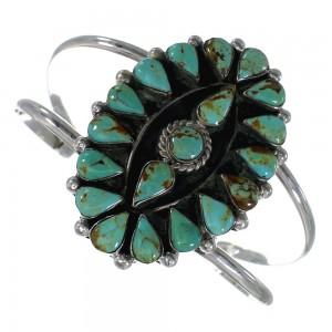 Genuine Sterling Silver Southwest Turquoise Cuff Bracelet CX49682