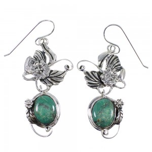 Green Agate And Sterling Silver Hook Dangle Flower Earrings AX50018