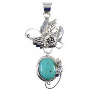 Southwest Turquoise Silver Flower Pendant AX50166