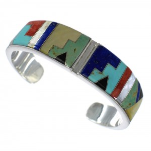 Sterling Silver Southwest Multicolor Inlay Heavy Cuff Bracelet CX49887