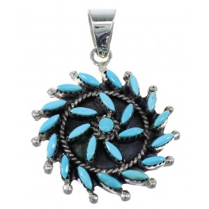 Turquoise Sterling Silver Needlepoint Pendant AX51121