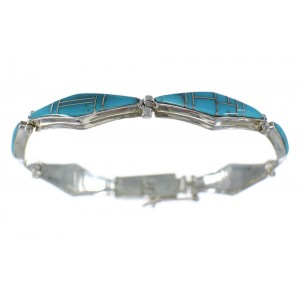 Turquoise Inlay And Sterling Silver Southwest Link Bracelet CX50358