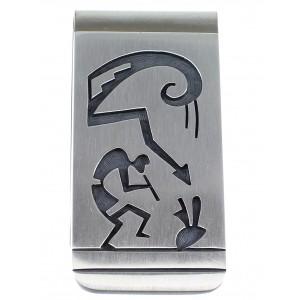 George Phillips Hopi Kokopelli Water Wave Silver Money Clip EX50291
