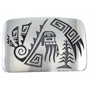 Hopi Red Bearded Kachina Water Wave G. Phillips Belt Buckle EX50326