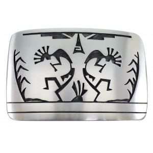 George Phillips Hopi Kokopelli Corn Stalk Silver Belt Buckle EX50331