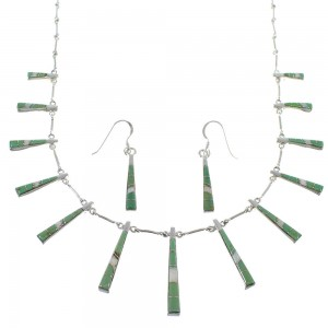 Turquoise Opal Sterling Silver Southwest Necklace And Earring Set CX51042