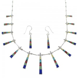 Genuine Sterling Silver Southwest Multicolor Inlay Necklace And Earring Set CX51123