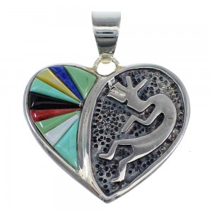 Silver Multicolor Heart Kokopelli Slide Pendant AX51224