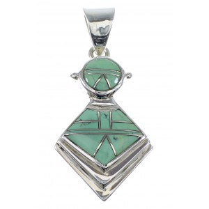 Sterling Silver And Turquoise Inlay Slide Pendant AX51247