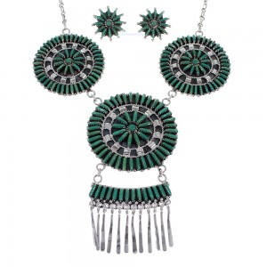 Turquoise Needlepoint Southwest Silver Necklace And Earring Set CX51335