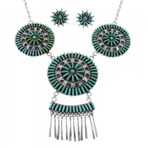 Southwest Turquoise Needlepoint Silver Necklace And Earring Set CX51336