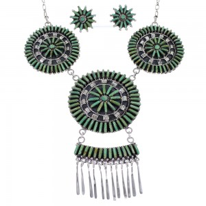 Silver Southwest Turquoise Needlepoint Necklace And Earring Set CX51338
