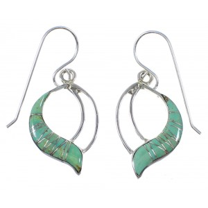 Southwestern Turquoise And Silver Hook Dangle Earrings AX51772