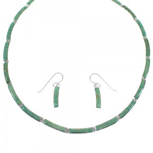 Southwest Sterling Silver Turquoise Necklace And Earring Set CX52169