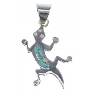 Turquoise And Opal Inlay Silver Lizard Pendant YX51762
