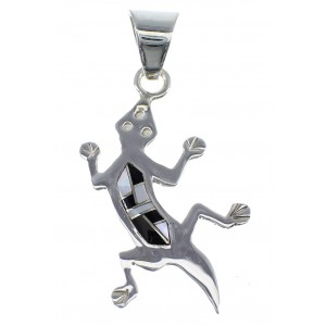 Jet And Mother Of Pearl Silver Lizard Pendant Jewelry YX51768