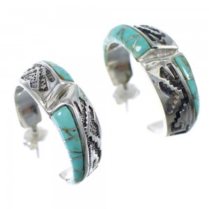 Turquoise Inlay Sterling Silver Southwest Post Hoop Earrings YX52056