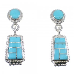 Turquoise Sterling Silver Post Dangle Southwestern Earrings YX53469