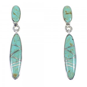 Turquoise Sterling Silver Post Dangle Southwestern Earrings YX53552
