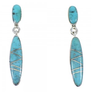 Genuine Sterling Silver Turquoise Post Dangle Earrings YX53563