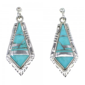 Southwest Turquoise Sterling Silver Earrings RX55342