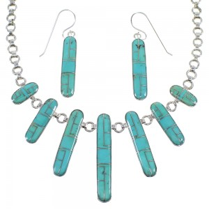 Turquoise Authentic Sterling Silver Southwest Necklace And Earring Set CX52665